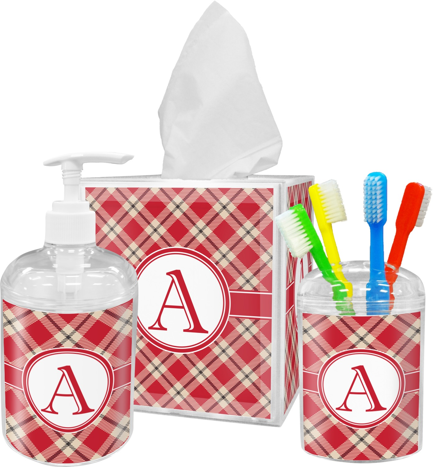Red & Tan Plaid Bathroom Accessories Set (Personalized) - YouCustomizeIt