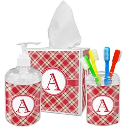 Red & Tan Plaid Bathroom Accessories Set (Personalized)