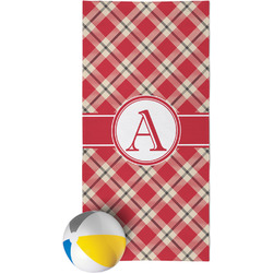 Red & Tan Plaid Beach Towel (Personalized)