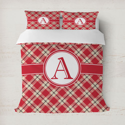 Red & Tan Plaid Duvet Covers (Personalized)