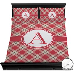 Red & Tan Plaid Duvet Cover Set (Personalized)