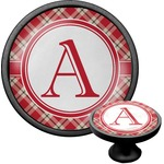Red & Tan Plaid Cabinet Knob (Black) (Personalized)