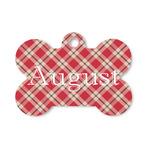 Red & Tan Plaid Bone Shaped Dog ID Tag (Personalized)