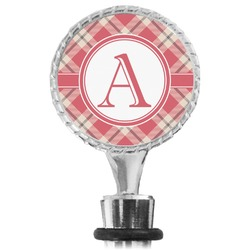 Red & Tan Plaid Wine Bottle Stopper (Personalized)