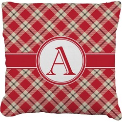 Red & Tan Plaid Faux-Linen Throw Pillow (Personalized)