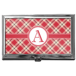 Red & Tan Plaid Business Card Holder