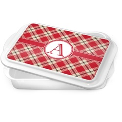 Red & Tan Plaid Cake Pan (Personalized)