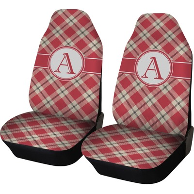 Red & Tan Plaid Car Seat Covers (Set of Two) (Personalized)