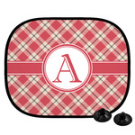 Red & Tan Plaid Car Side Window Sun Shade (Personalized)