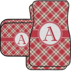 Red & Tan Plaid Car Floor Mats Set - 2 Front & 2 Back (Personalized)