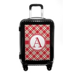 Red & Tan Plaid Carry On Hard Shell Suitcase (Personalized)