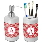 Red & Tan Plaid Bathroom Accessories Set (Ceramic) (Personalized)