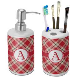 Red & Tan Plaid Bathroom Accessories Set (Ceramic) (Personalized)