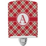 Red & Tan Plaid Ceramic Night Light (Personalized)