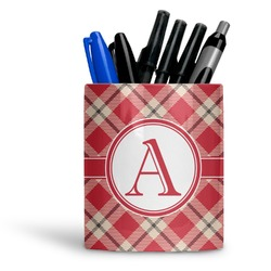 Red & Tan Plaid Ceramic Pen Holder