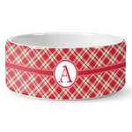 Red & Tan Plaid Ceramic Dog Bowl (Personalized)
