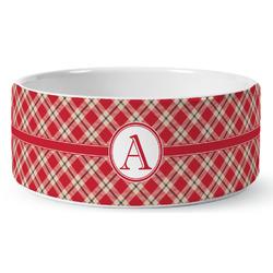 Red & Tan Plaid Ceramic Pet Bowl (Personalized)