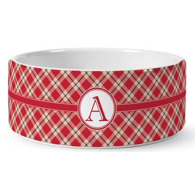 Red & Tan Plaid Ceramic Dog Bowl (Personalized)