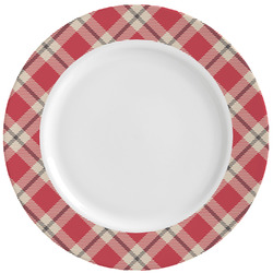 Red & Tan Plaid Ceramic Dinner Plates (Set of 4) (Personalized)