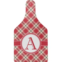Red & Tan Plaid Cheese Board (Personalized)