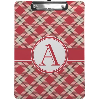 Red & Tan Plaid Clipboard (Personalized)
