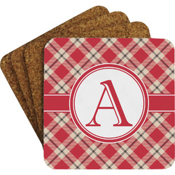 Red & Tan Plaid Coaster Set (Personalized)