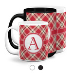 Red & Tan Plaid Coffee Mugs (Personalized)