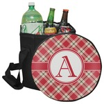 Red & Tan Plaid Collapsible Cooler & Seat (Personalized)
