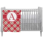 Red & Tan Plaid Crib Comforter / Quilt (Personalized)