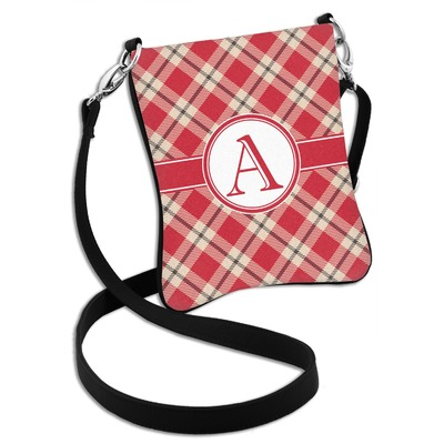 Red & Tan Plaid Cross Body Bag - 2 Sizes (Personalized)