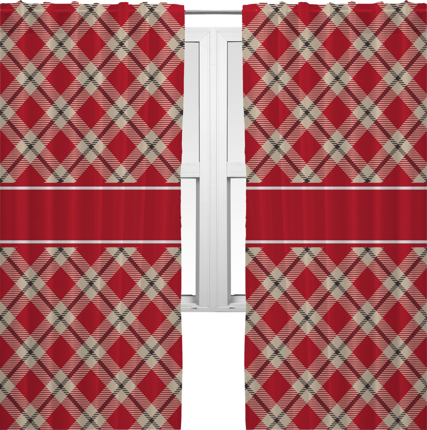 red tan plaid curtains 20 x54 panels unlined 2