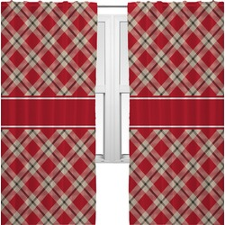 Red & Tan Plaid Curtains (2 Panels Per Set) (Personalized)