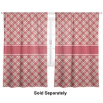 "Red & Tan Plaid Curtains - 20""x63"" Panels - Unlined (2 Panels Per Set) (Personalized)"