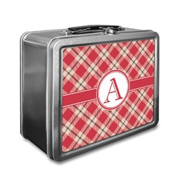 Red & Tan Plaid Lunch Box (Personalized)