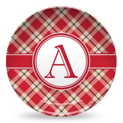 Red & Tan Plaid Microwave Safe Plastic Plate - Composite Polymer (Personalized)