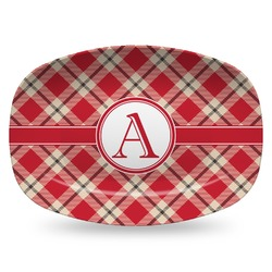 Red & Tan Plaid Plastic Platter - Microwave & Oven Safe Composite Polymer (Personalized)