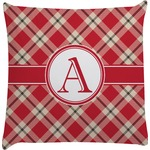 Red & Tan Plaid Decorative Pillow Case (Personalized)