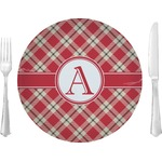 "Red & Tan Plaid 10"" Glass Lunch / Dinner Plates - Single or Set (Personalized)"