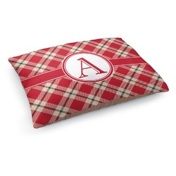 Red & Tan Plaid Dog Pillow Bed (Personalized)