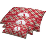 Red & Tan Plaid Dog Bed w/ Initial