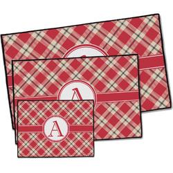 Red & Tan Plaid Door Mat (Personalized)