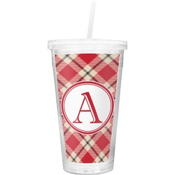 Red & Tan Plaid Double Wall Tumbler with Straw (Personalized)