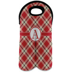 Red & Tan Plaid Wine Tote Bag (2 Bottles) (Personalized)