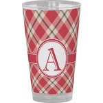 Red & Tan Plaid Drinking / Pint Glass (Personalized)