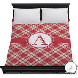 Red & Tan Plaid Duvet Cover (Personalized)