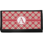 Red & Tan Plaid Canvas Checkbook Cover (Personalized)