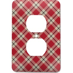 Red & Tan Plaid Electric Outlet Plate (Personalized)