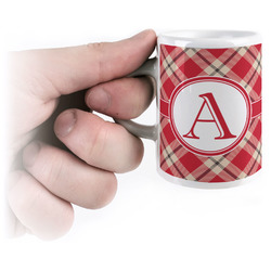Red & Tan Plaid Espresso Cups (Personalized)