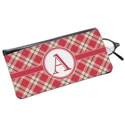 Red & Tan Plaid Genuine Leather Eyeglass Case (Personalized)