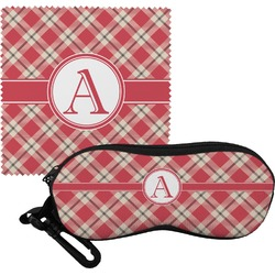 Red & Tan Plaid Eyeglass Case & Cloth (Personalized)